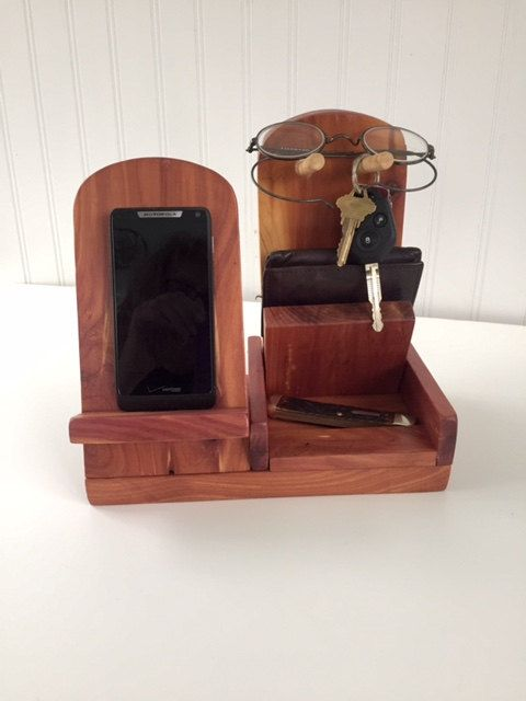 Woodcrafted Cell Phone Docking Stand Watch Wallet