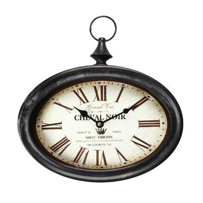 """Adeco Trading Vintage-Inspired Pocket """"Cheval Noir"""" Wall Hanging Clock"""