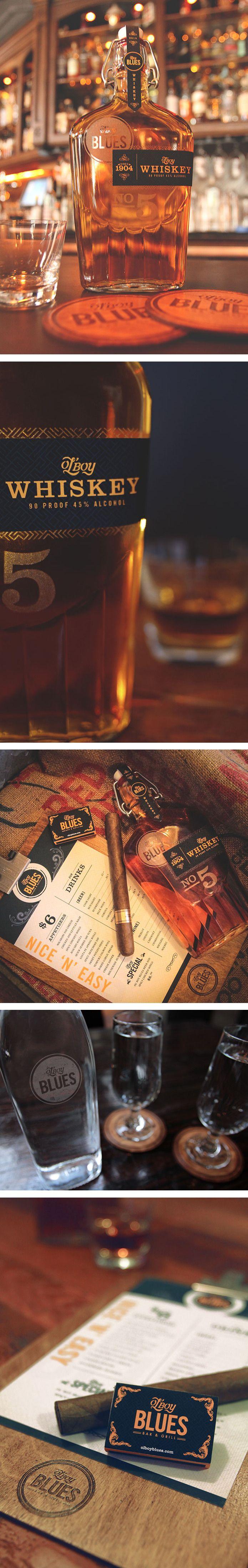 Ol' Boy Blues Whiskey bottle and branding PD