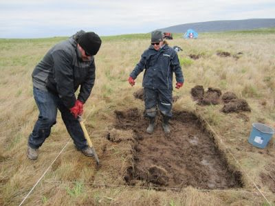 Possible Viking discovery by archaeologist could rewrite North American history.  Chase Childs, left, and Sarah Parcak, right, search for evidence  of a Viking presence at Point Rosee in 2015  [Credit: Greg Mumford]