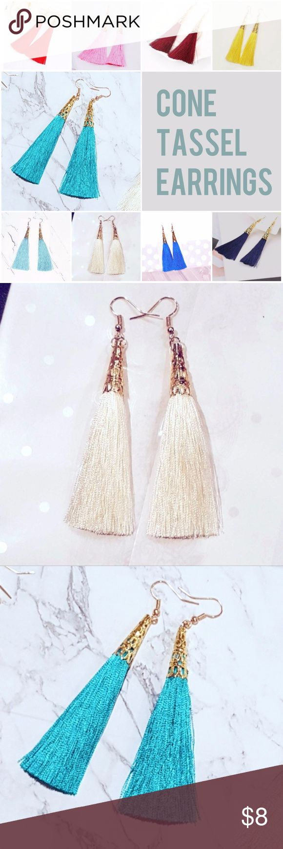 """Cone Tassel Earrings (Multiple Color Options) Cone Tassel Earrings - Approx. 3.3"""" Long. Gold-tone Hardware. ___________________________________________ Available in:   *Red   *Pink   *Wine Red   *Yellow   *Turquoise   *Peach   *Light Blue   *Cream   *Black   *Royal Blue   *Navy Blue   *Brown  (cb159) Jewelry Earrings"""