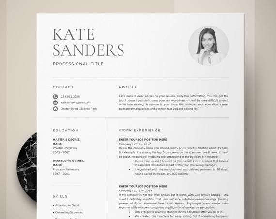 Cv Template Resume Template With Photo Professional Resume Instant Download Creative Resume T Desain