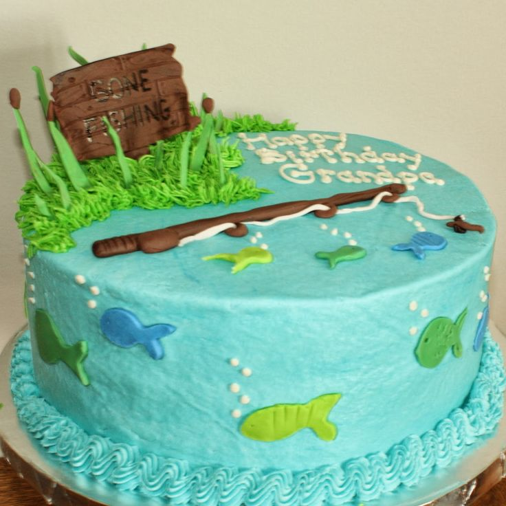Best 25 fishing cakes ideas on pinterest fish birthday for Fishing themed cakes