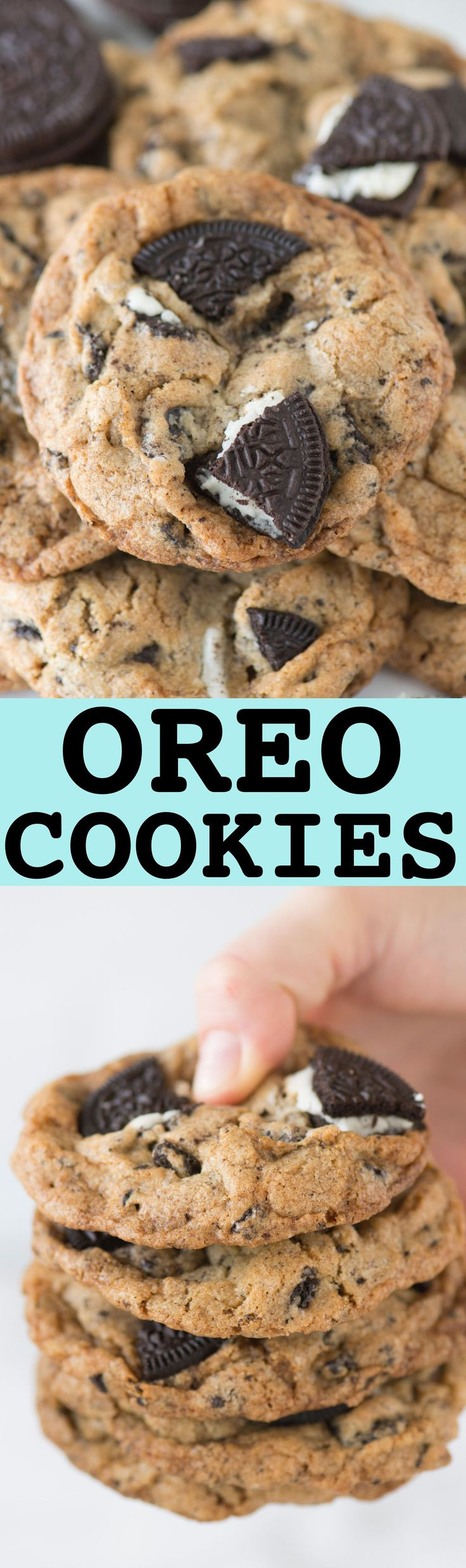 These cookies are loaded with 3 cups of chopped oreos! Some of the best oreo cookies or cookies & cream cookies we've tried! Crispy on the outside and chewy on the inside!
