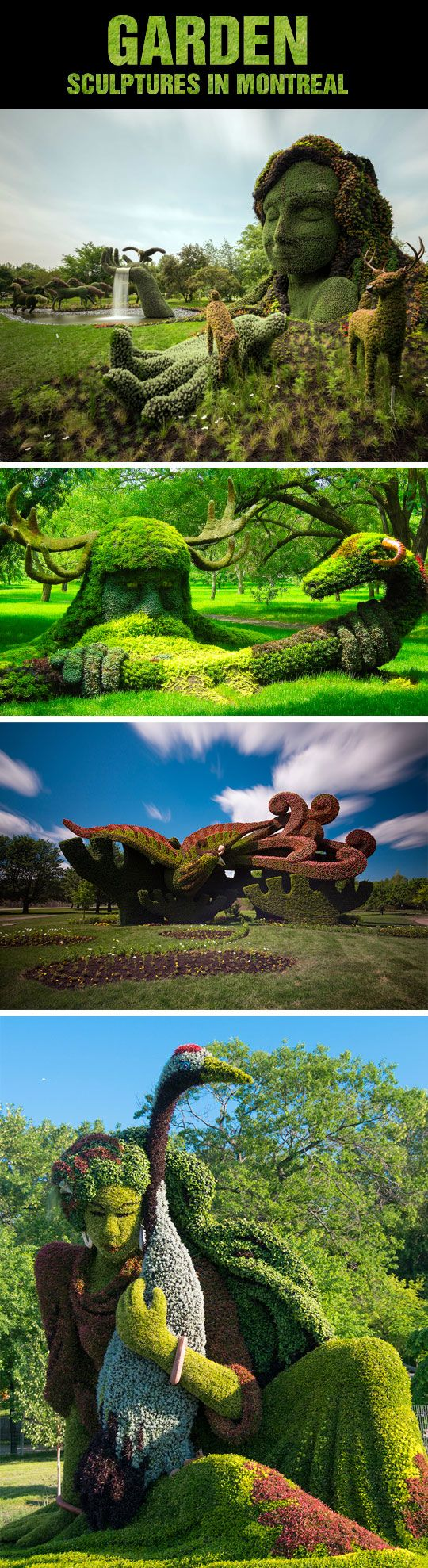 Amazing Garden Sculptures In Montreal. I wonder if I can talk Hot Cop into working these into our landscaping...