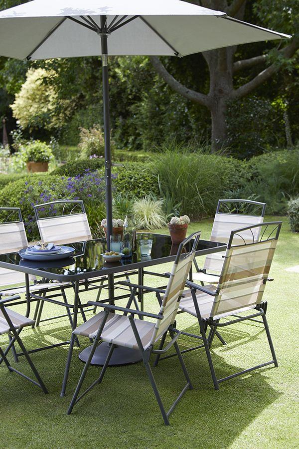 Wexfordly 6 Seater Metal Garden Furniture Dining Set Metal