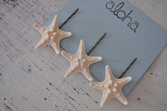 Starfish Hair Clips BEACH WEDDING Beach Hair by saltyandsandy, $18.00