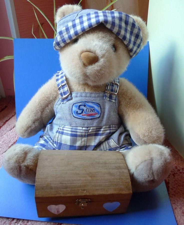 Vintage plush toy TEDDY BEAR - SAM with wooden box