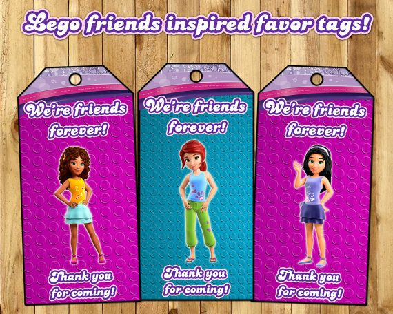 Lego Friends Inspired Favor Tags  Lego Friends by InstaBirthday