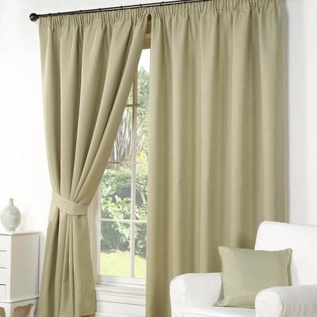 Hamilton McBride Striped Traditional Green Wenden Pencil Pleat Curtains