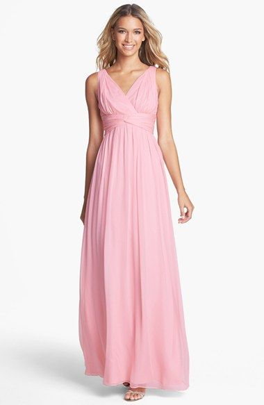 Donna Morgan 'Julie' Twist-Waist Silk Chiffon Gown  available in medium and light grey. It's definitely a lot more attractive in grey, but they will only let me pin pepto-bismal pink.