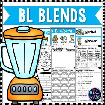 Blends Worksheets - Bl Words ; FREEBIE