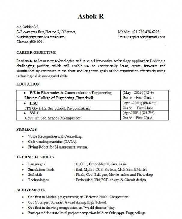 B E Ece Resume Format Format Resume JobInterviewWords Job