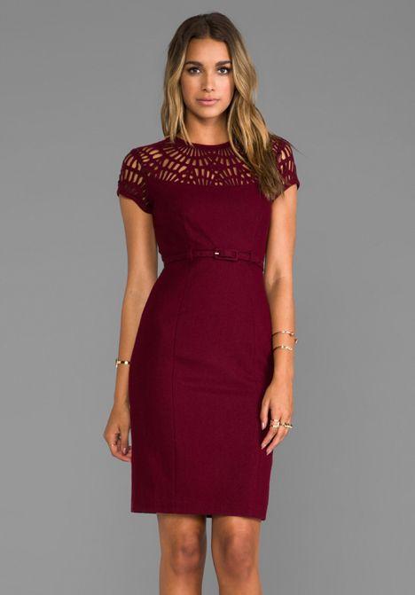"""SUSANA MONACO Novelty Laser Cut Wool Lily 25"""" Dress in Oxblood - Dresses"""