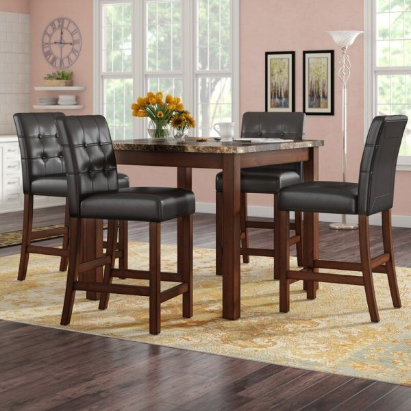 Sison 5 Piece Counter Height Dining Set Fauxmarblediningtableset