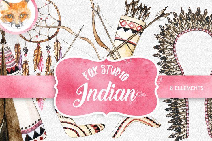"Watercolor tribal clipart: ""TRIBAL CLIP ART"" dream catcher teepee tent arrows feathers indian clip art wedding clip art invitatins clip art"