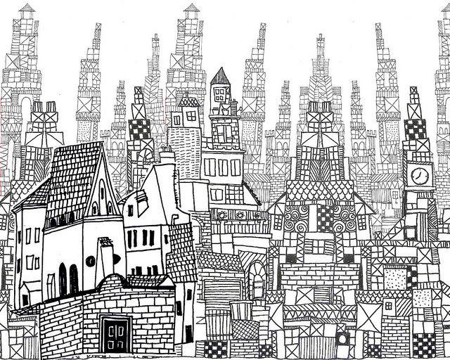 urban pattern by Laura Wennstrom. #art #illustration #pattern #city
