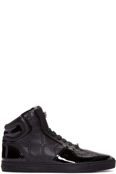 Версаче - черный греческий ключ высокого кроссовки