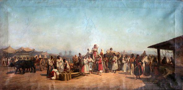 Tradtional Romanian Clothing, Bucharest, 1861   Carol Popp Szathmari - Târgul Moşilor, ulei pe pânză, 1861, Muzeul Municipiului Bucureşti.  #Romanianblouse #IA #lablouseroumaine #history