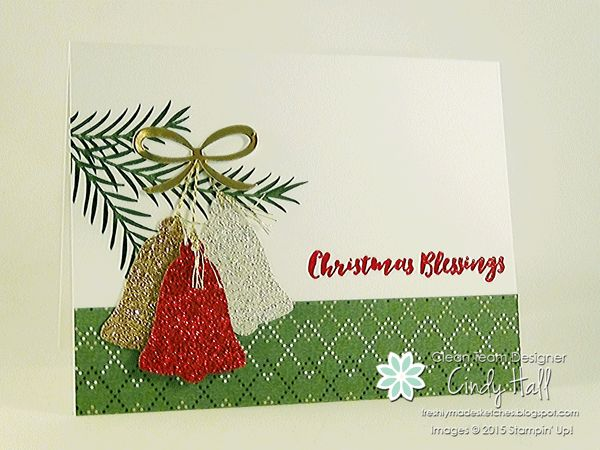 CAS Christmas Card featuring Christmas Pines Stamp Set and Bell Punch by Stampin' Up!