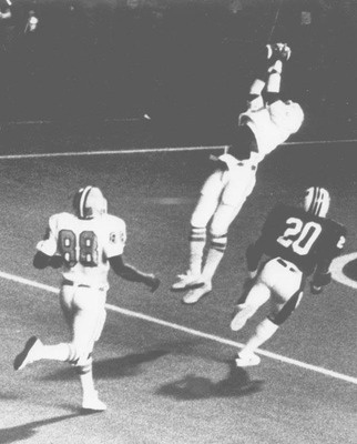 One of the most infamous catchs in Clemson football history. Jerry Butler made a leaping touchdown catch in the 1977 game against South Carolina in the final minute to cap a victory. The famous Fuller to Butler play. I was sitting right there cheering on the Tigers!