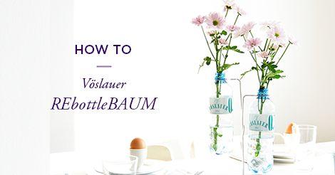 Der REbottleBAUM verwandelt deine Vöslauer Flaschen in tolle Vasen #tischdeko #deko #flowers #vöslauer #flaschen #vase