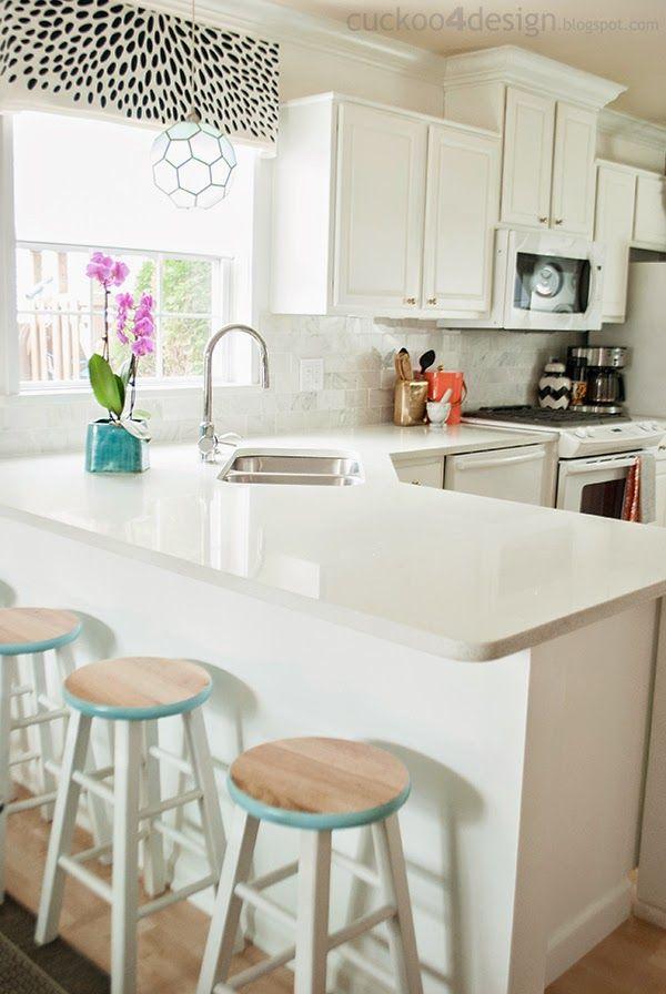 New Backsplash with The Tile Shop - paint edge of stools.  Window trtmt/pendant