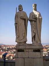 Statue of King Stephen I of Hungary and Queen Giselle in Veszprém (Hungary)