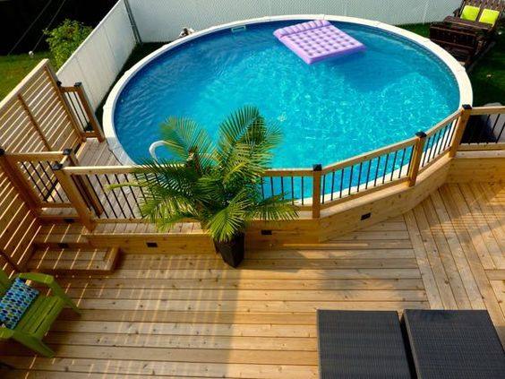 comment embellir une piscine hors sol ou semi enterr e 20 id es ground pools decking and. Black Bedroom Furniture Sets. Home Design Ideas