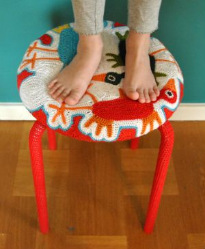 Freeform crocheted stool