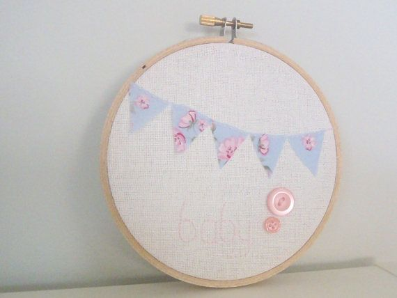 Pink and Blue Bunting Baby Nursery Embroidery Hoop Wall Art via Etsy