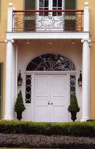 Solid White Wood Door With Custom Divided Lite Sidelights And Transom