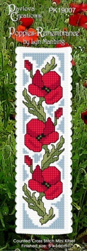 Cross-stitch bookmark - Poppies - Remembrance