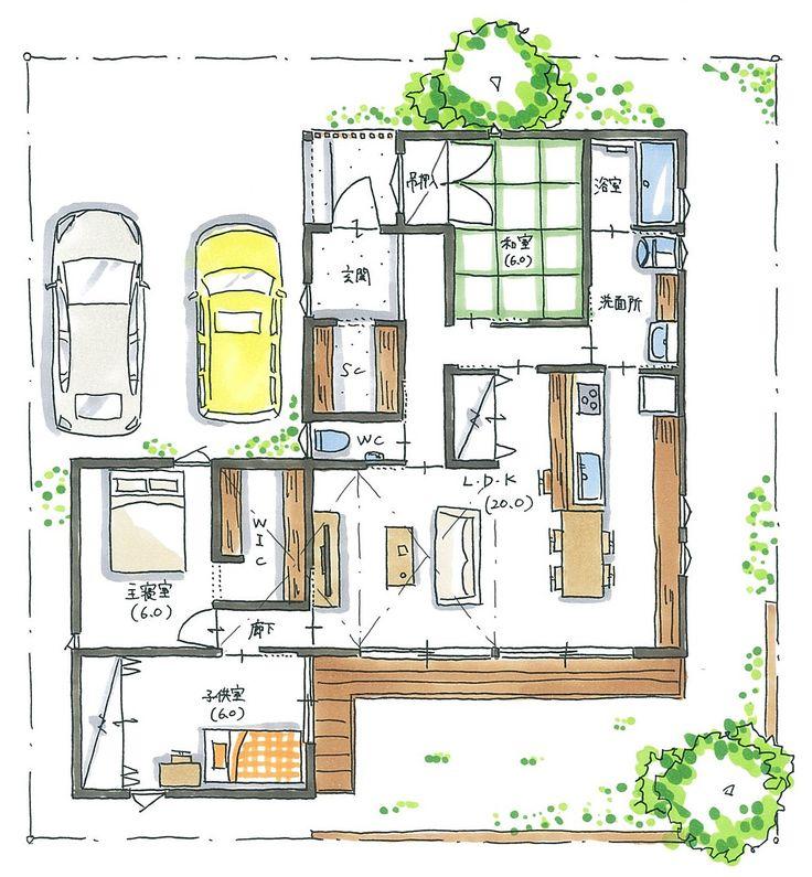 """96 Likes, 5 Comments - 設計士くろちゃん (@kuro_chan_collabo) on Instagram: """"平屋のお家は、動線が魅力的です♪高さを利用すると立体的な空間もデザインできます。洗面所の右の空きスペースは、勝手口を付けて物干し場になる予定です。最近、平屋のお家の相談が増えてる?気がします。そこまで大きな土地じゃなくても、平屋を建てることができるかもしれません。無駄なくシンプルに!#プラン#間取り#30坪弱#ロフト#勾配天井#3LDK#ウッドデッキ#庭#板塀#格子#和モダン#家事動線#設計士#設計事務所#設計士とつくる#デザイナーズ住宅#デザイン住宅#コラボハウス#香川#愛媛"""""""