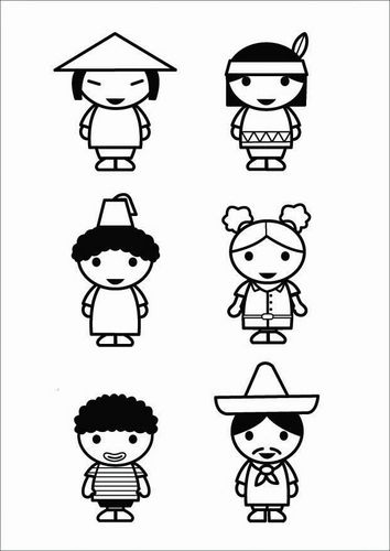 Kleurplaat kinderen - culturen
