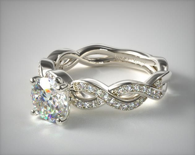 14K White Gold Bright Set Infinity Engagement Ring   Intricate and lacy, the bright set pave creates an almost velvety feel to this token of ever lasting love.   Ring Style: 17554W14 on JamesAllen.com. Click to view this ring in 360° HD.