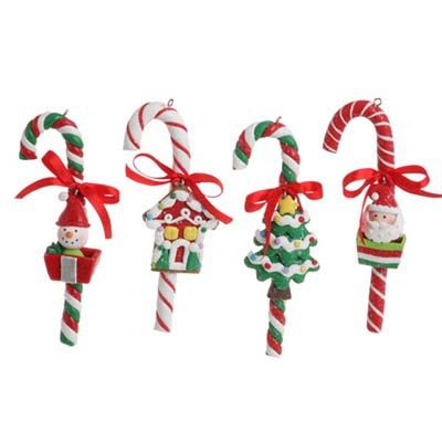 RAZ Claydough Candy Cane Christmas Ornament Set of 4 4 Assorted styles of  candy canes Set includes one of each style Red, Green, Whit… | ornaments |  Pinte… - RAZ Claydough Candy Cane Christmas Ornament Set Of 4 4 Assorted