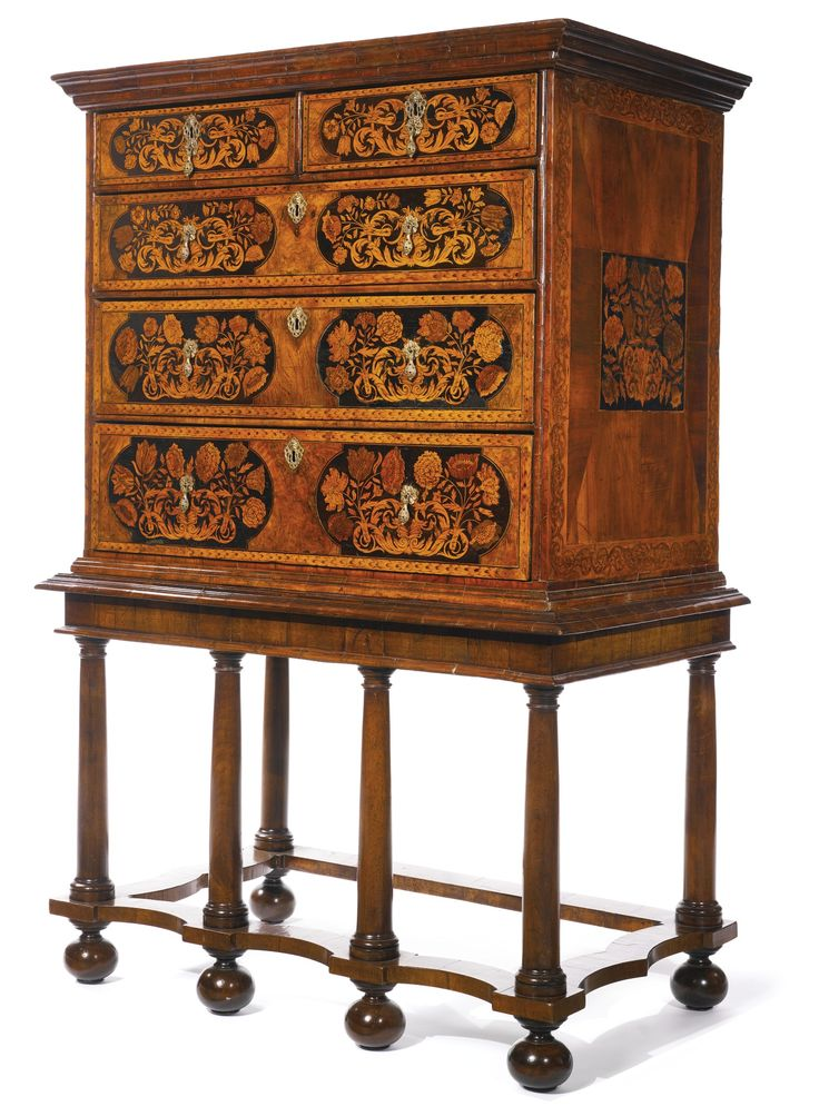 Awesome A William And Mary Walnut And Fruitwood Floral Marquetry Chest On Later  Stand