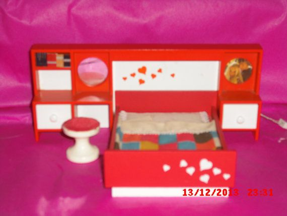 Lundby Double bed set Red with stool by VintageLundbyLove on Etsy, £26.00