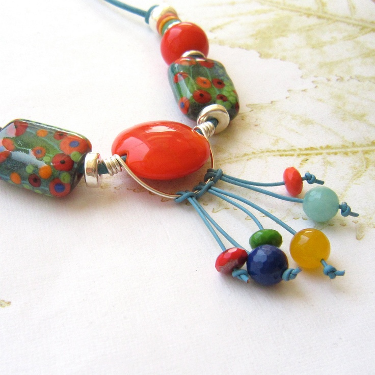 beaded necklace lampwork necklace colourful by amazing design