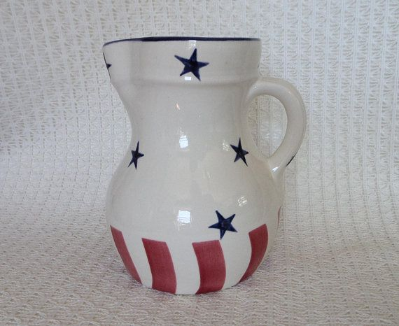 Stars And Stripes Pitcher Red White And Blue Vintage Patriotic