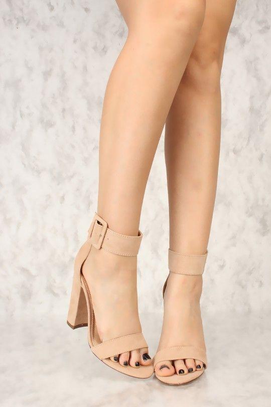 9509b323930 Camel Wide Ankle Strap Open Toe Single Sole Chunky High Heels Faux ...