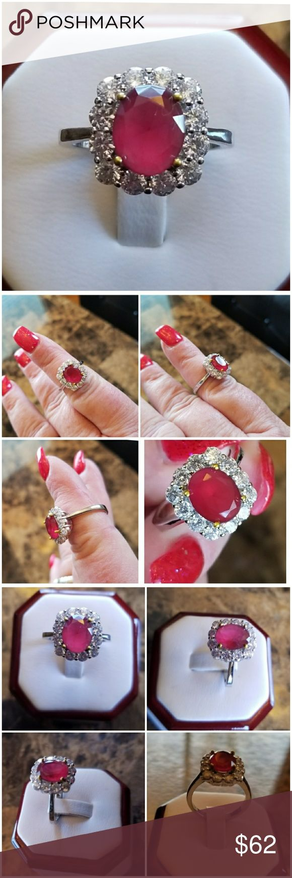 2.76ct Natural Ruby Ring Size 6 & 8 HOLD FOR JENNIFER Gorgeous & Elegant Natural Ruby surrounded by multiple Sparkling White Sapphires!  HOT!  Set in 925 stamped Solid Sterling Silver. Please see all pictures for more detail and measurement. Brand New. Never Worn. Wholesale Prices Always Jewelry Rings