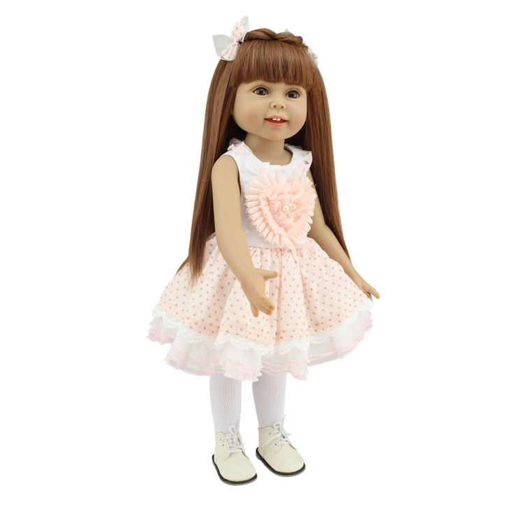 "Gender: Girl Doll(no gender distinction ). Eye: High quality acrylic, Eyes are fixed and do not close. Hair: High quality wig, the hair can be washed and combed. Size: Approx. 17"" -18"" Head to Toe. 