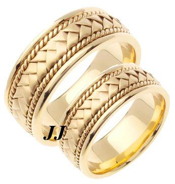 Yellow Gold Hand Braided Wedding Band Set 8mm YG-151S [YG-151S] – $759.99 : Diam…
