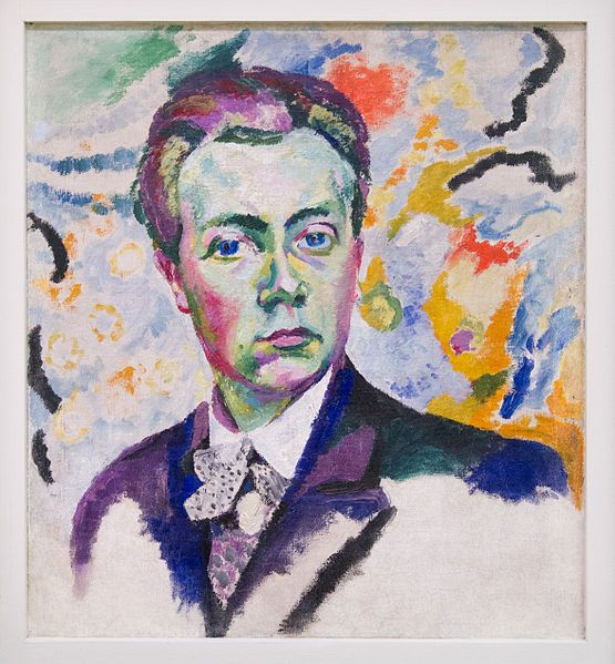 Self-portrait. Robert Delaunay. 1905-1906. Oil on canvas. 54 x 46 cm. Musée National d'Art Moderne, Paris. As an Orphinist, Delaunay's work is recognizable by his use of very bright and vibrant colours used to create many mosaic-like shapes which harmoniously create other forms.