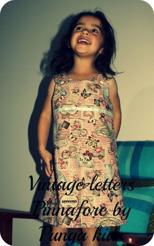 Punga kids - Home Vintage letters pinafore  Handmade in New Zealand