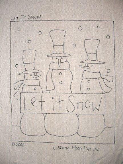 Hand-drawn Rug Hooking Pattern: LET IT SNOW by WaxingMoonDesigns