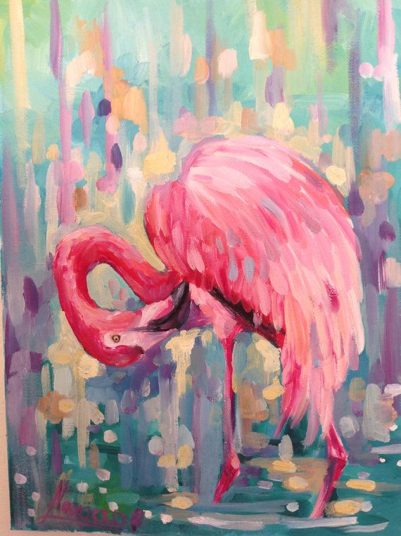 Flamingo art flamingo giclee flamingo canvas by LenaNavarroArt