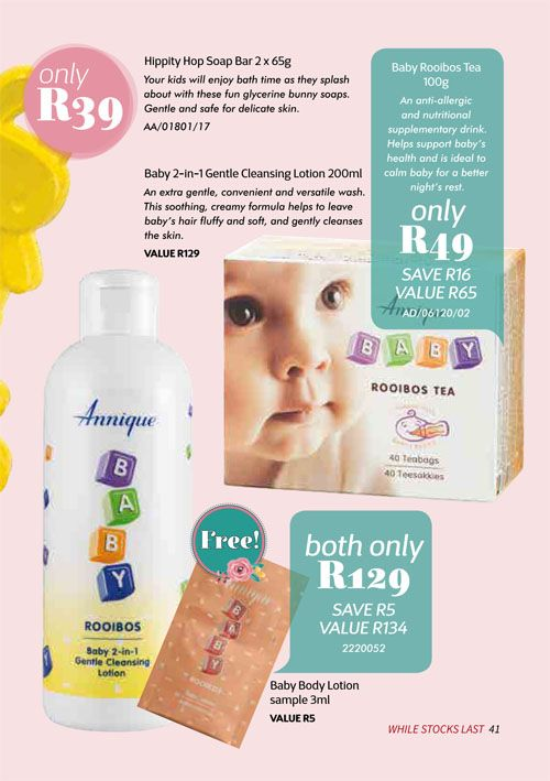 Annique Health & Beauty October 2017 Specials. Annique Rooibos Baby Tea & Gentle Cleansing Lotion.